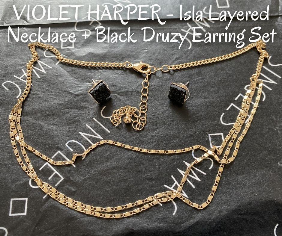 VIOLET HARPER - Isla Layered Necklace + Black Druzy Earring Set