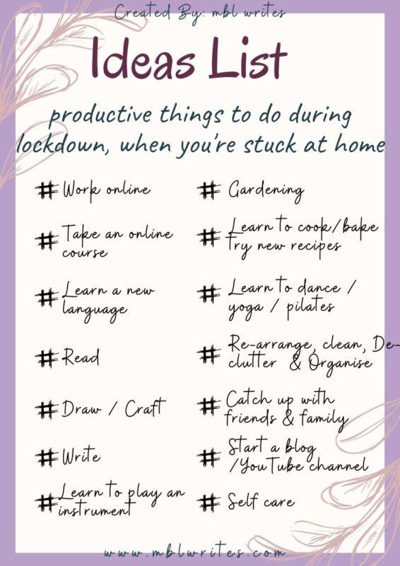 Surviving Lockdown Ideas List and Goals
