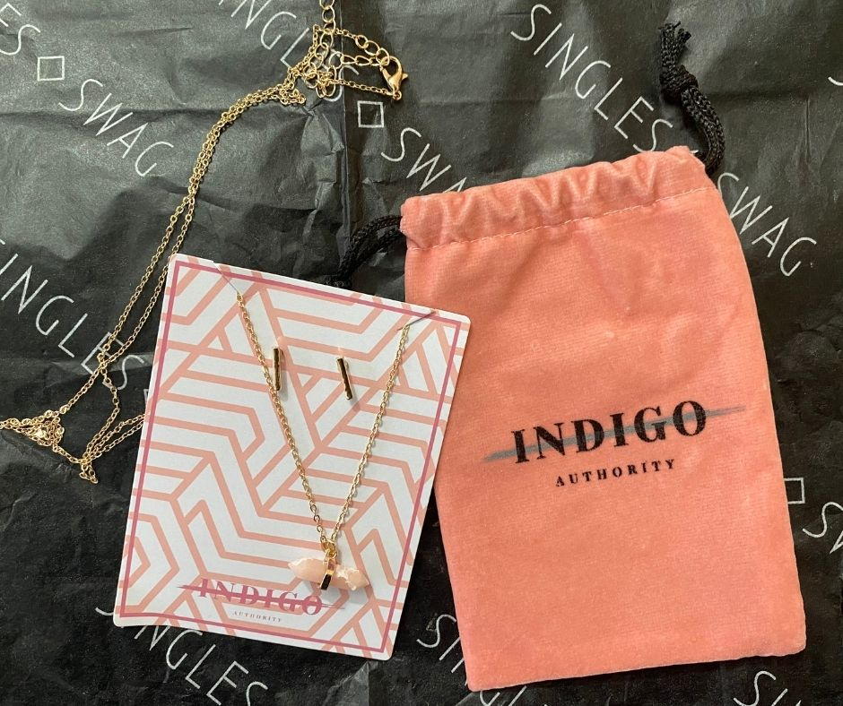 INDIGO AUTHORITY - Coral Pink Long Necklace + Earrings set | $58