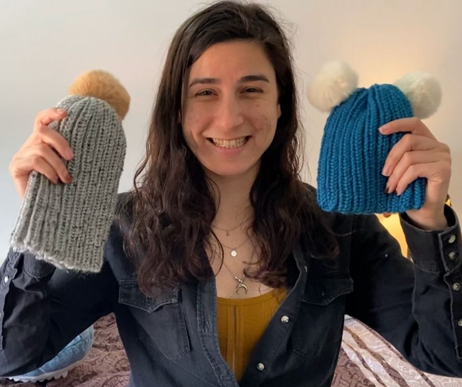 The final product - Loom-Knitted Hat